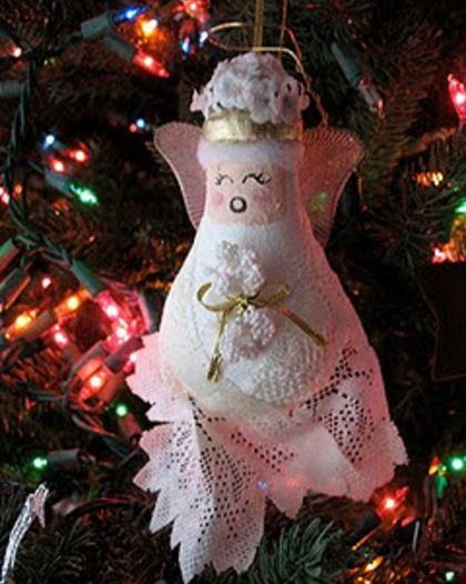 Lacey Light Bulb Angel Ornament AllFreeChristmasCrafts