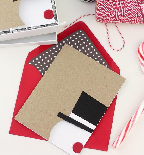 Snowman Christmas Cards Diy.Minimalist Snowman Diy Card Allfreechristmascrafts Com
