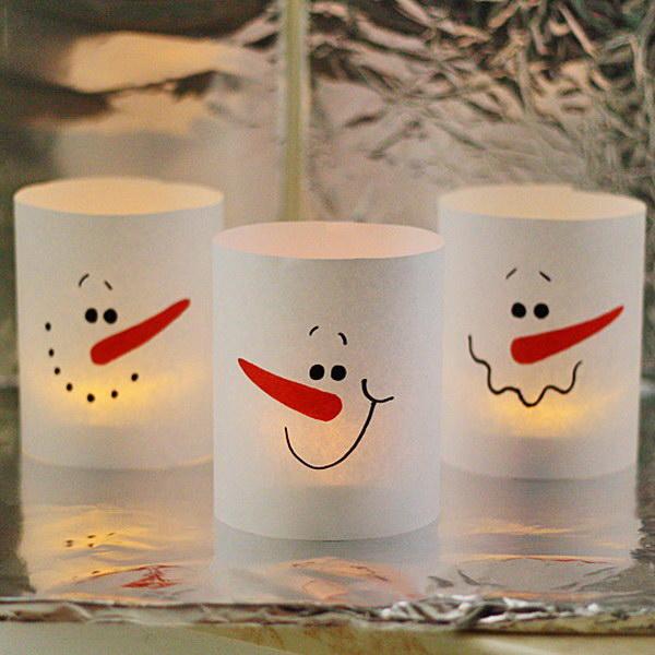 3Minute Paper Snowman Luminaries