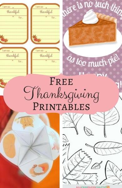 Allfreepapercrafts Com: 18 Free Thanksgiving Printables