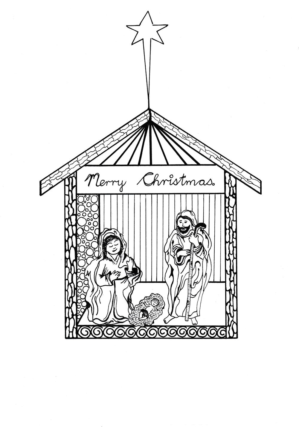 Free Printable Nativity Scene Coloring Pages | AllFreeChristmasCrafts ...