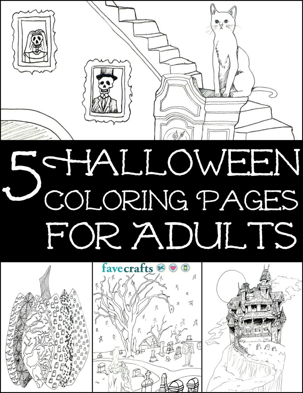 free halloween coloring pages - 5 halloween coloring pages for adults free ebook