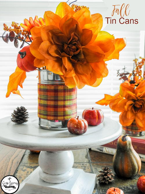 Fall decoration recycled tin cans for Large tin can crafts