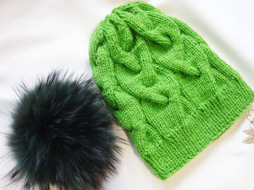 Knit Hat Stitch Calculator : Diagonal Rib Stitch Hat AllFreeKnitting.com