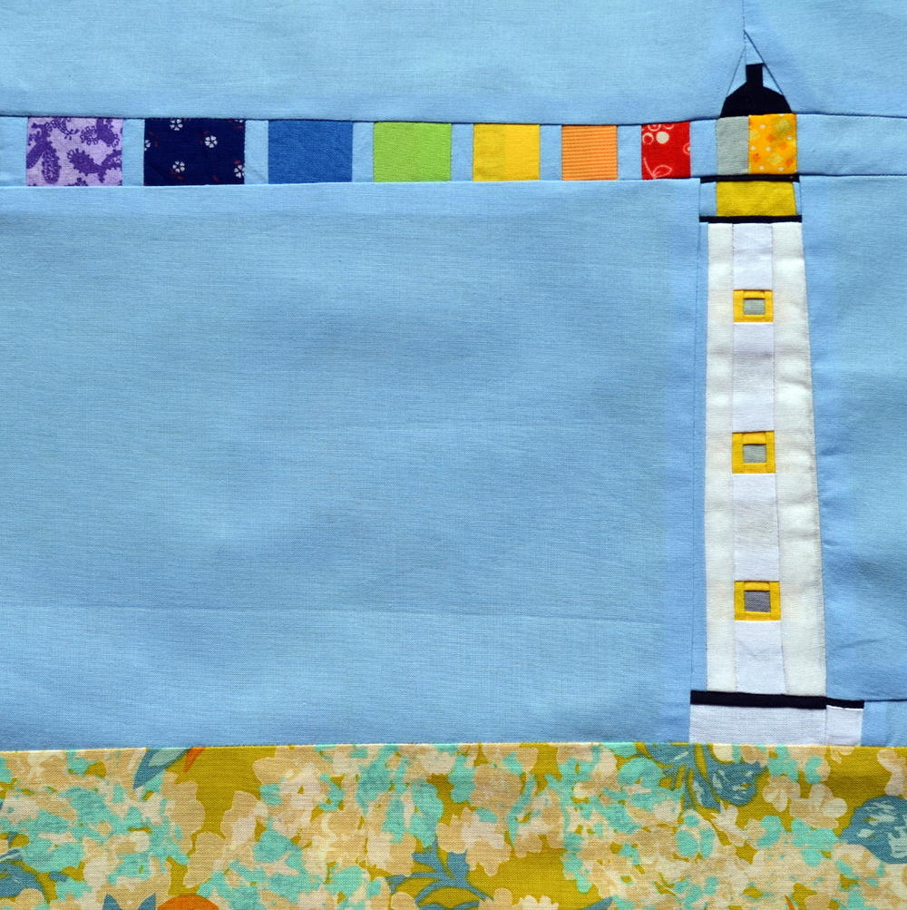 Free Lighthouse Quilt Block Patterns : Rainbow Lighthouse Block Pattern FaveQuilts.com