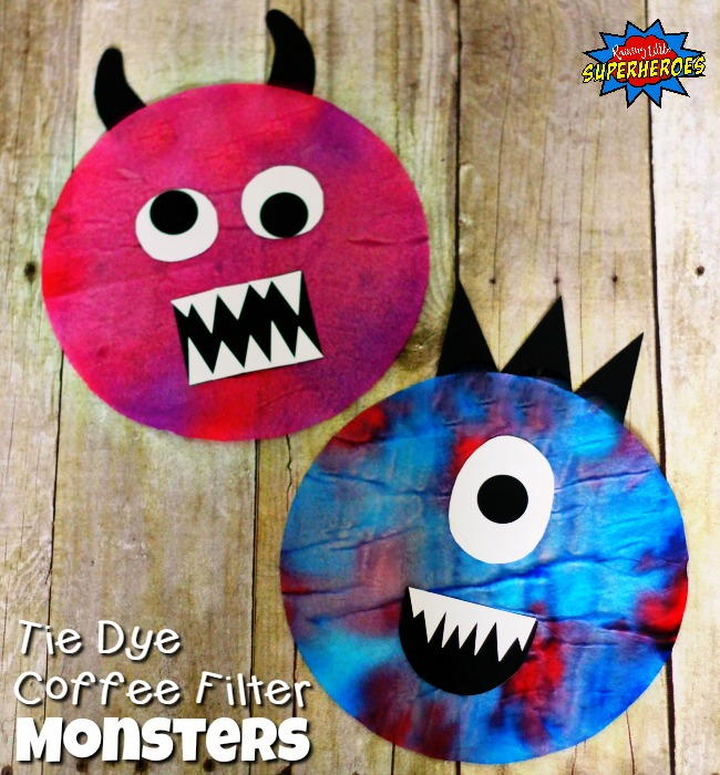 Tie Dye Coffee Filter Monster AllFreeKidsCrafts