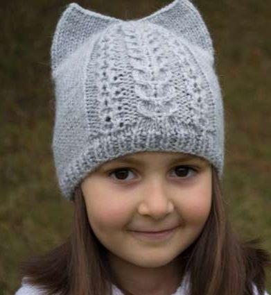 Free Knitting Patterns Hats For Children : Kitty Ear Kids Hat Pattern AllFreeKnitting.com