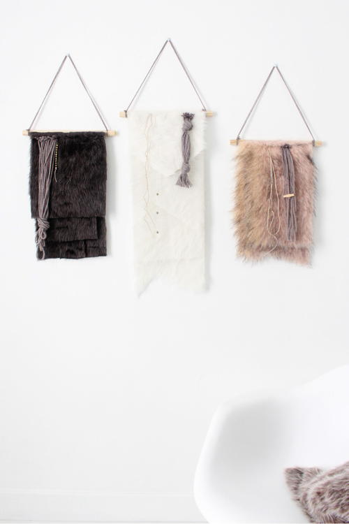 Faux Fur DIY Wall Hangings