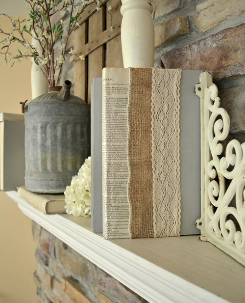 Lace and burlap covered books diy decor for Lace home decor