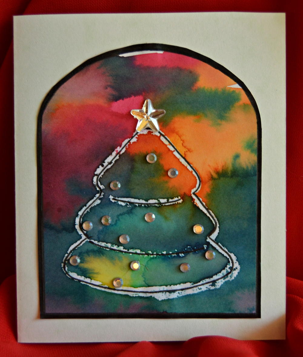 Stained glass christmas tree diy card for All free holiday crafts