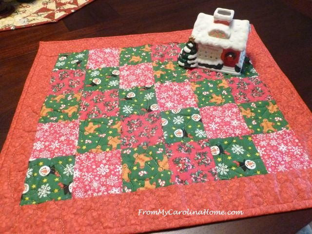 Quick Christmas Diagonal Squares Reversible Table Topper FaveQuilts.com