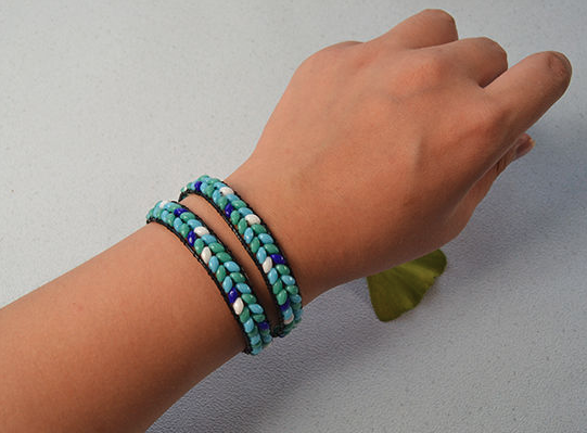 Two-Hole Bead Double Wrap Bracelet