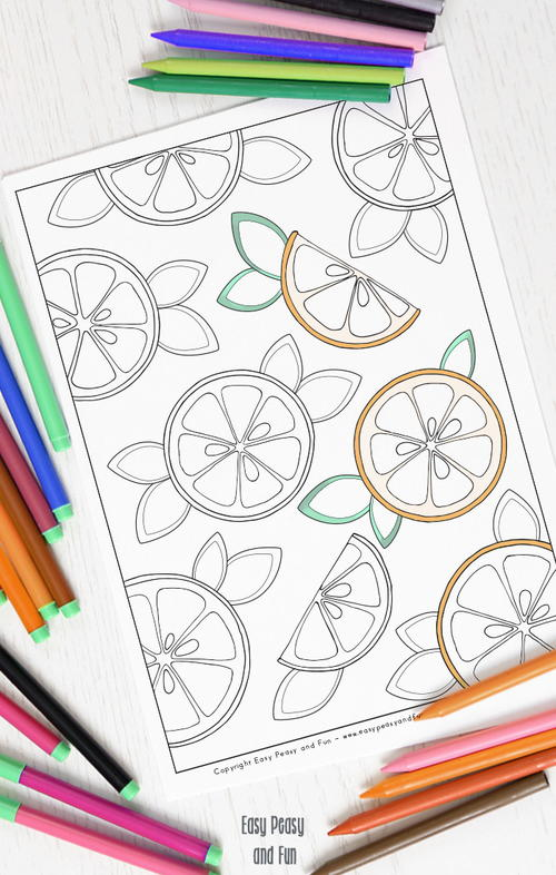 Fun Oranges Coloring Page