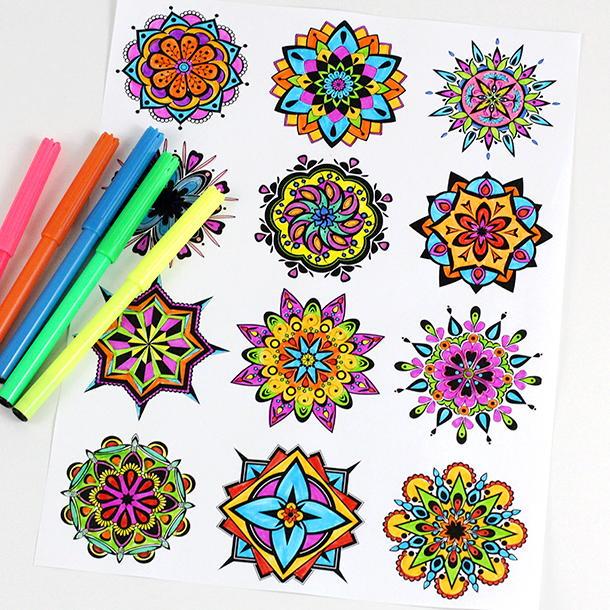 Mini Mandala Coloring Pages FaveCrafts.com