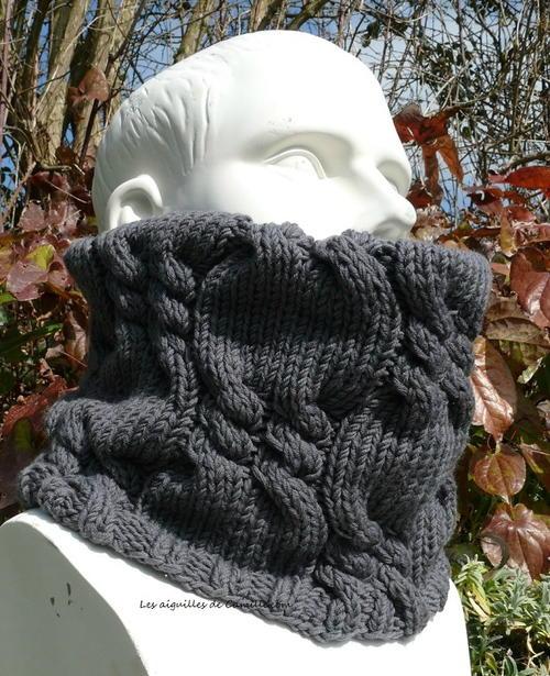 Mens Cowl Knitting Pattern : Mens Cabled Cowl AllFreeKnitting.com