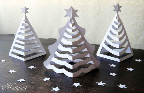 3D Paper Christmas Trees Craft