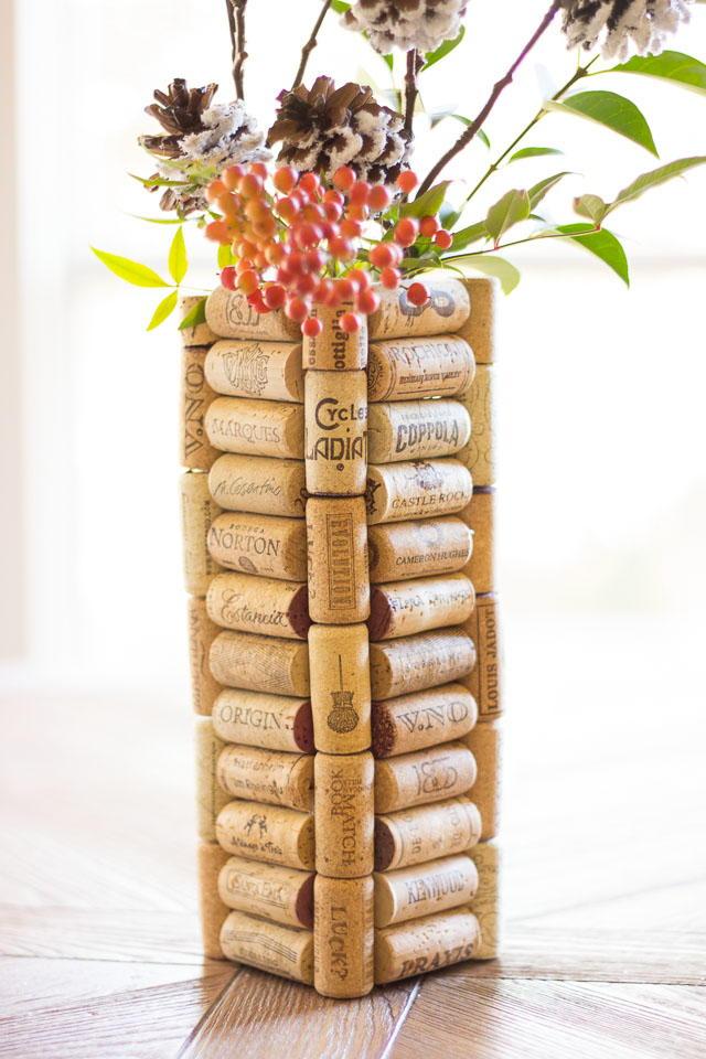 Super Thrifty Christmas Wine Cork Diy Vase