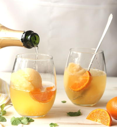 Tangerine Sorbet Champagne Floats | TheWineBuyingGuide.com