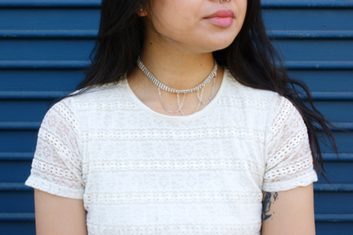 Rhinestone Chain Choker Necklace