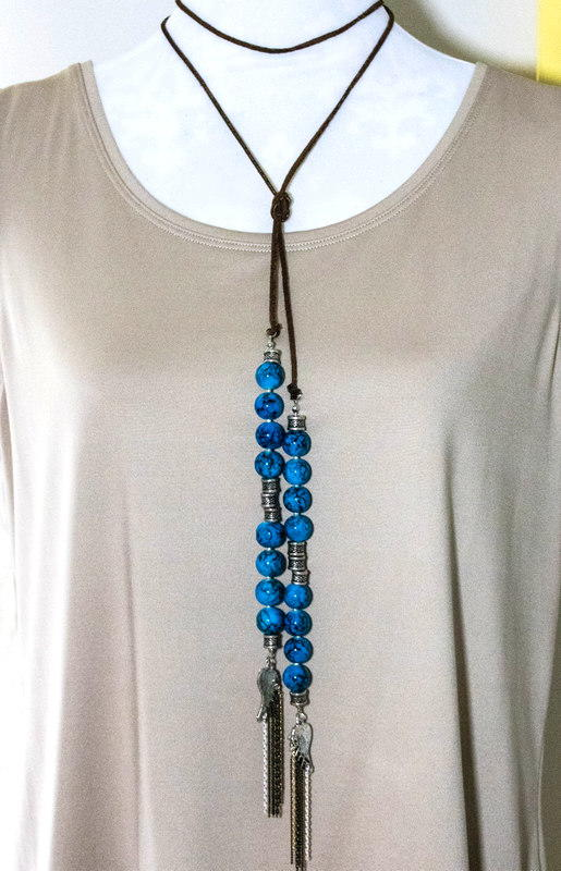 Anthropologie Knock Off Beaded Suede Necklace