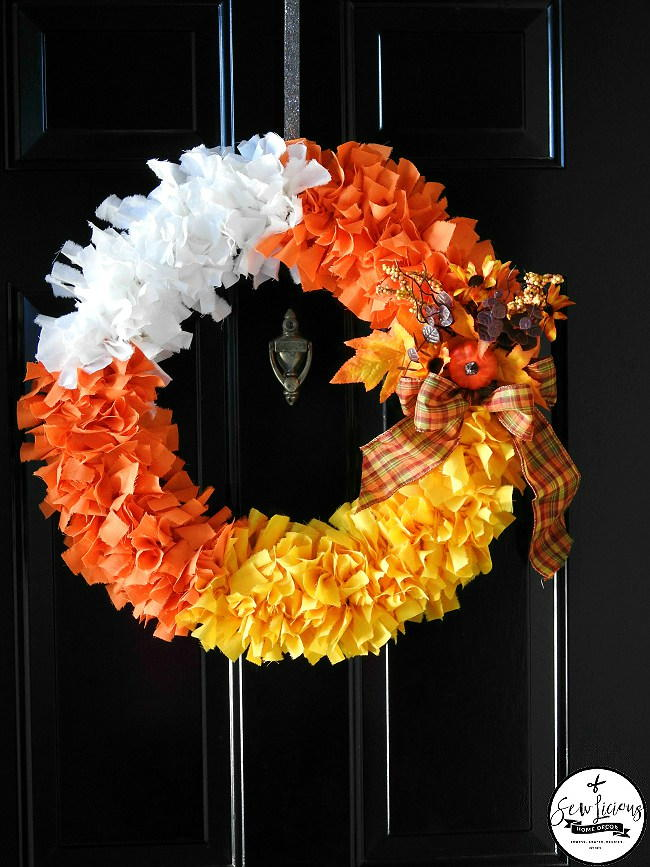 Candy Corn Fabric Wreath FaveCrafts