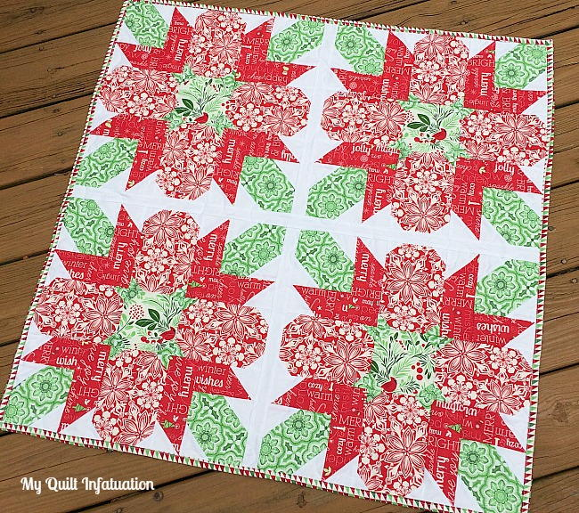 Christmas Tree Table Runner Quilt Pattern: Traditional Poinsettia Table Topper
