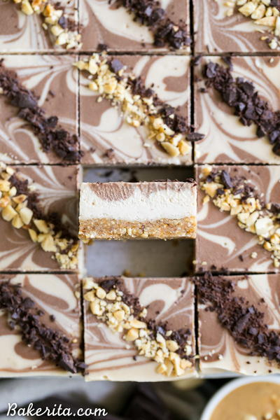 No Bake Chocolate Peanut Butter Cheesecake Bars