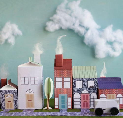 Quaint recycled milk carton craft village for Christmas crafts with milk cartons