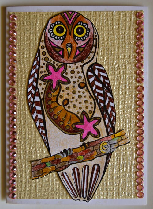 Allfreepapercrafts Com: Bejeweled Owl Homemade Birthday Card