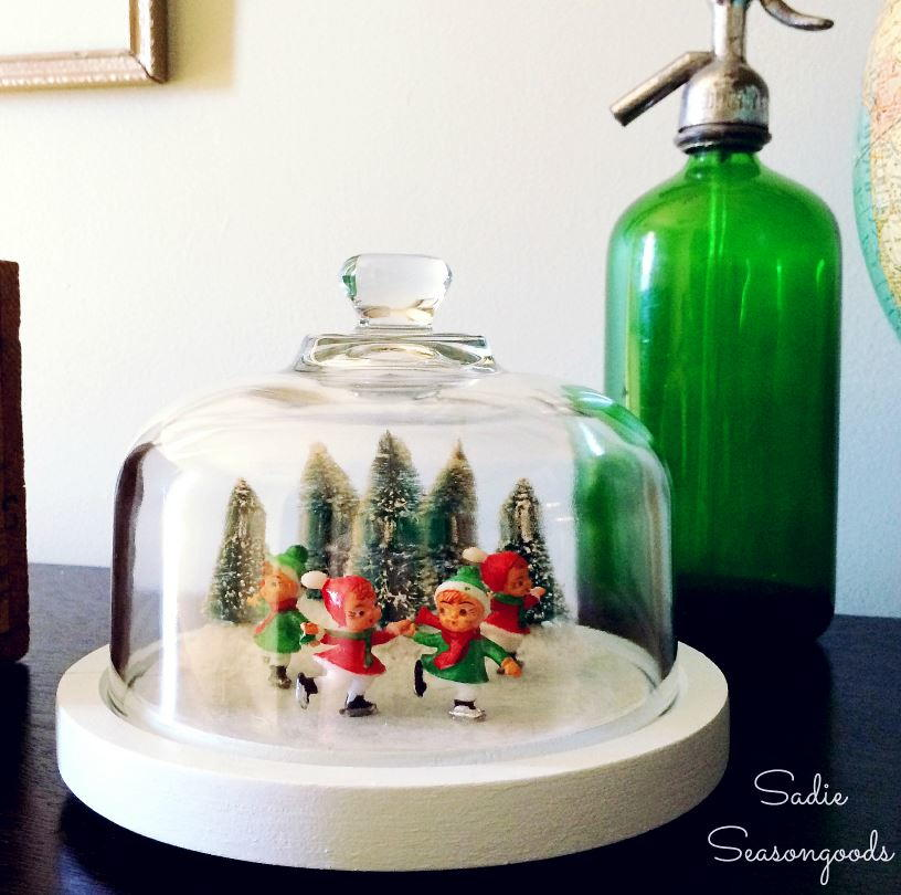 Vintage Skating Pond Glass Dome Craft Allfreechristmascrafts Com