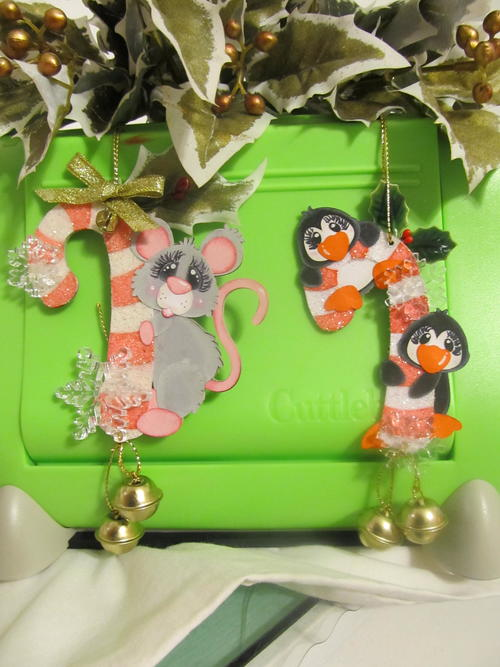 Sparkly Candy Cane Critter Ornaments