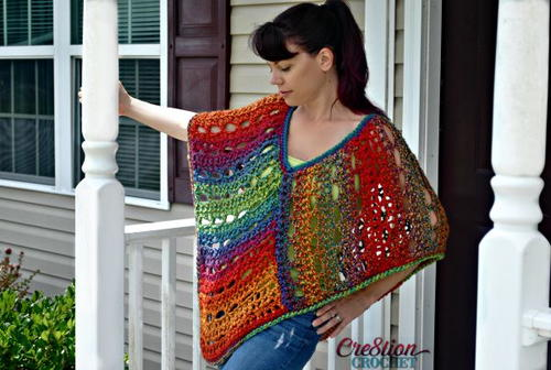 Colorful Crochet Poncho
