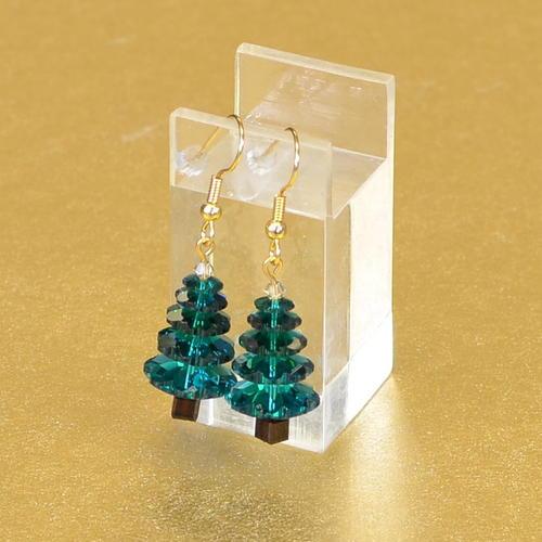 Swarovski christmas tree handmade earrings