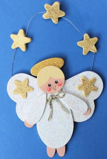 Golden star angel diy wood ornament for Easy christmas crafts for kids religious