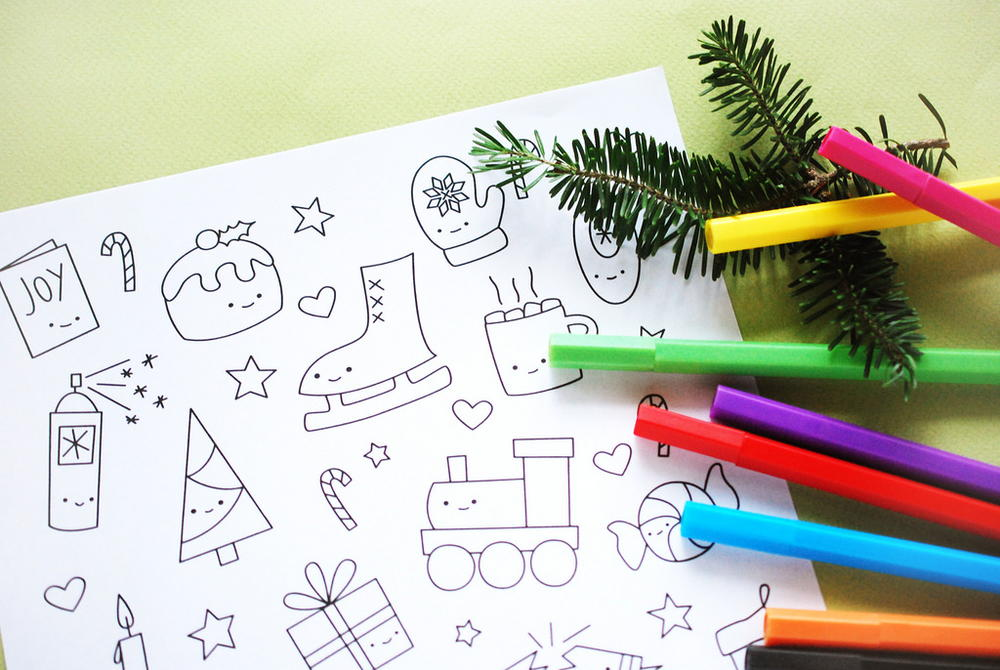 Cutesy Christmas Coloring Pages Favecrafts Com