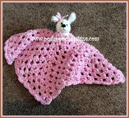 Free Crochet Dog Lovey Pattern : Fuzzy Blanket Lovey Bear AllFreeCrochet.com