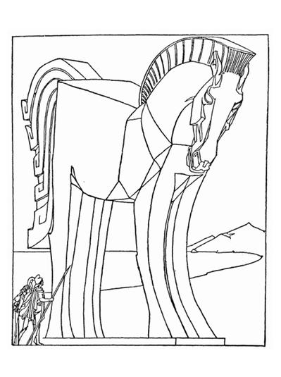 coloring book pages trojan horse | Trojan Horse Coloring Page | FaveCrafts.com