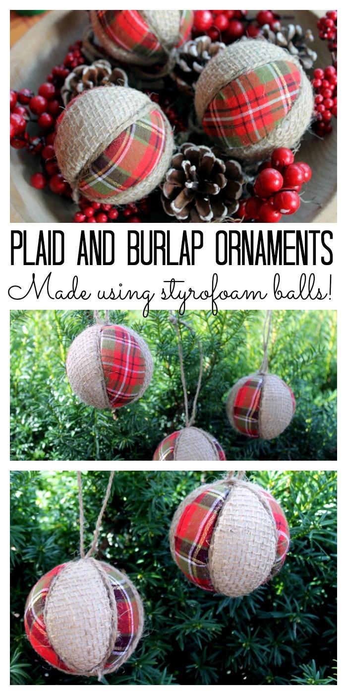Plaid and Burlap Ornaments | FaveCrafts.com
