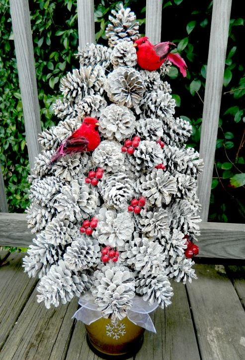 Pretty pine cone tree craft for Pine cone christmas tree craft