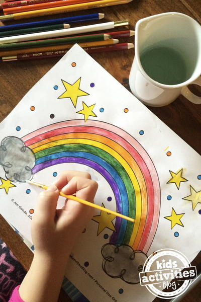 Star-Studded Rainbow Coloring Page
