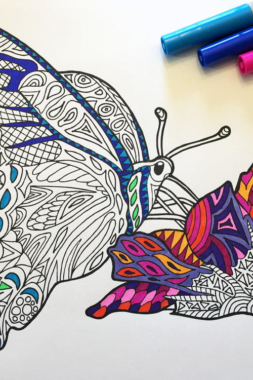 Butterfly Zentangle Coloring Page FaveCrafts