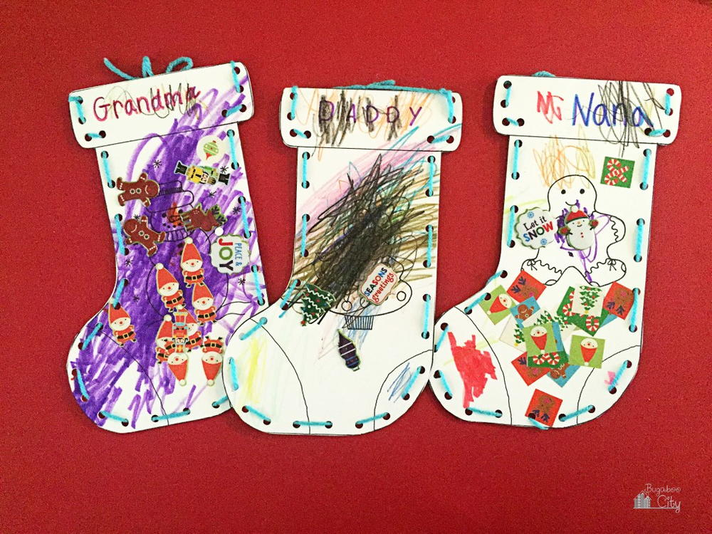 Kids christmas stocking paper craft for Stocking crafts for toddlers