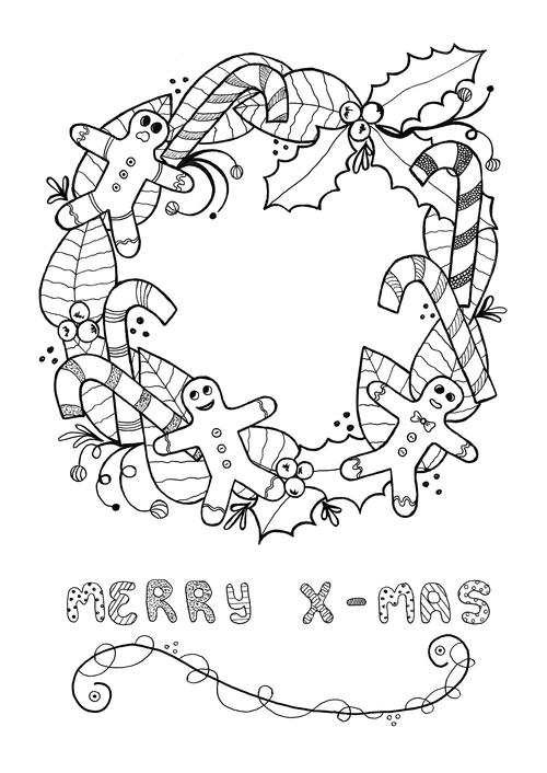 Festive wreath adult christmas coloring page for Christmas coloring pages wreaths
