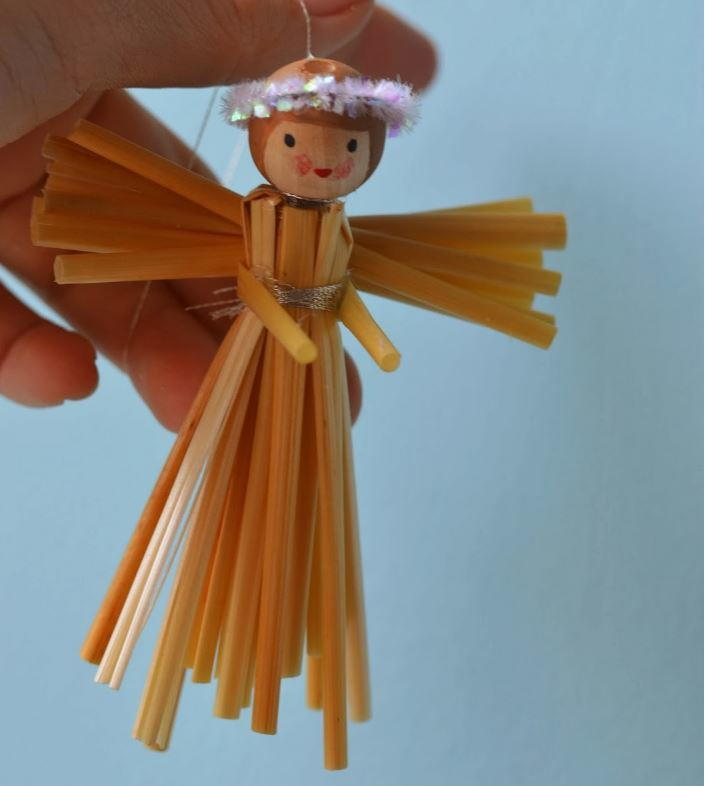 Simple Straw DIY Angel Ornament
