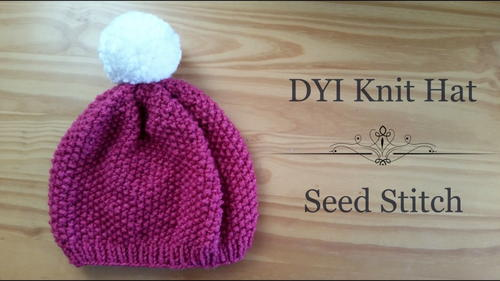 Knit Hat Stitch Calculator : Berry Beautiful Seed Stitch Hat AllFreeKnitting.com
