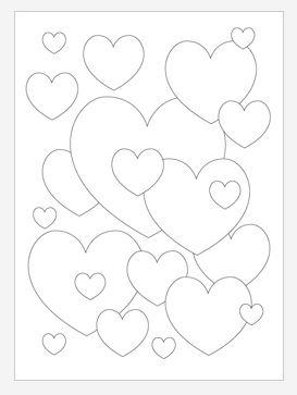 Bubbly Hearts Coloring Page