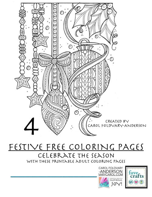 4 Festive Holiday Coloring Pages for Adults