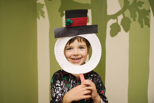 Snowman Mask Paper Plate Craft