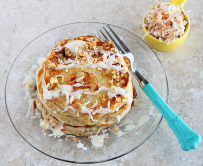 Hummingbird Pancakes with Cream Cheese Drizzle