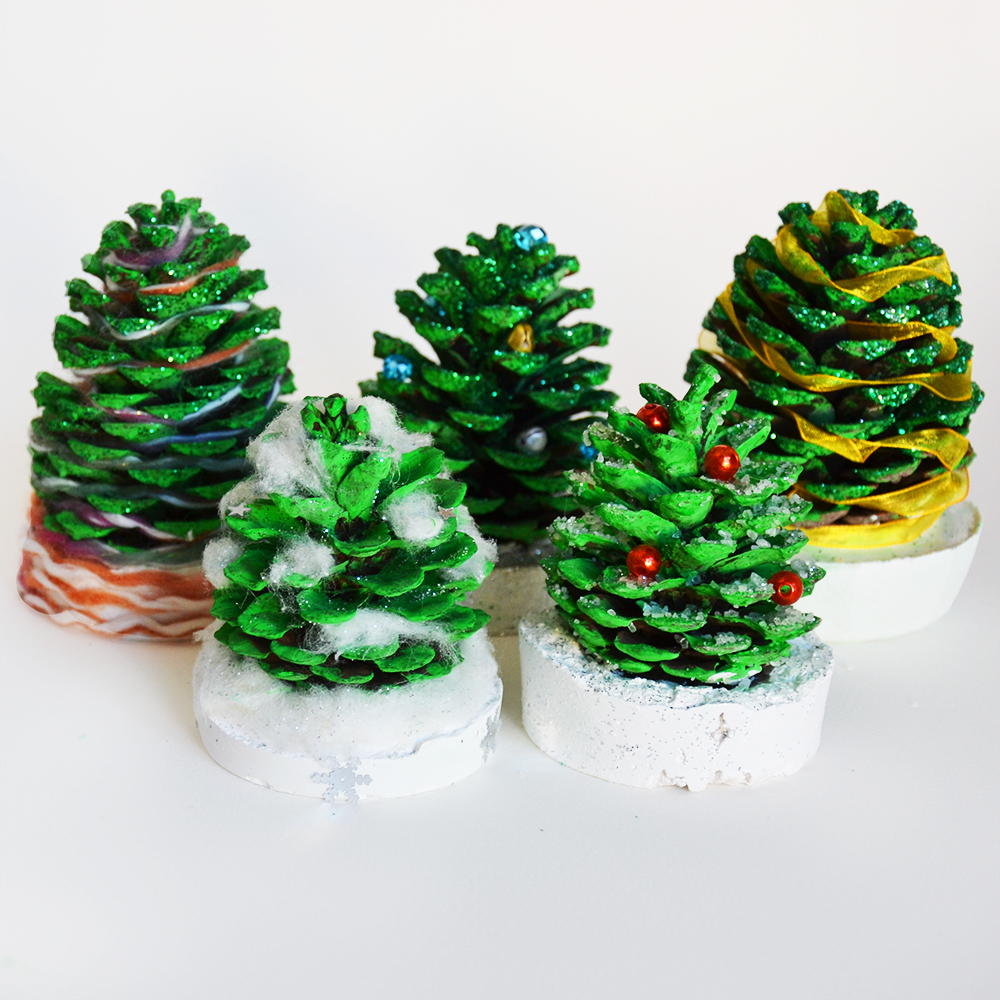 Pine cone christmas trees for kids for Large christmas pine cones